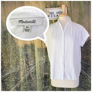 EUC WHITE MADEWELL BUTTON BUSINESS CASUAL BLOUSE